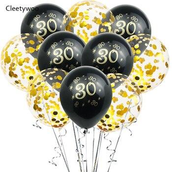 30th золотистый и черный конфетти латексные шары 30 40 50 лет Happy День рождения украшения для взрослых воздушный шар с гелием 30th на день рождения Дек