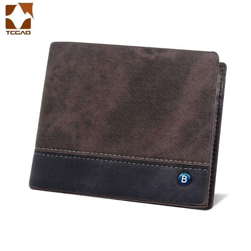Wallet Men Three Fold Short Leather Wallets Men's Trifold Pocket Purse Retro Luxury Small Cartera Hombre Pequena Coin Bag