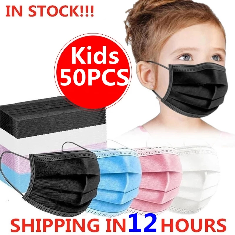 10/50pcs Child Kids Mask Disposable Face Masks 3 Layer Filter Anti Dust Flu Earloop Protective Breathable Children's Mouth Masks