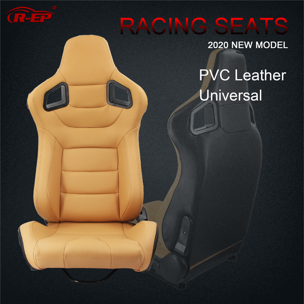 R-EP Car Racing Seat Universal For Sport Tuning Car Simulator Bucket Seats Adjustable Yellow PVC Leather XH-1041-YL