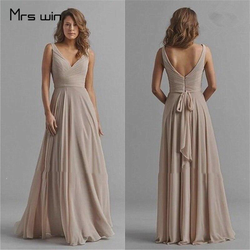 Mrs Win Evening Dresses Chiffon Deep V-neck Women Party Dress HR236 Plus Size A Line Pleat Tank Long Vestido Madrinha For Women