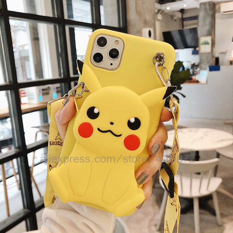 3D Stitch Cartoon Coin Bags Silicon Soft Phone Case For Samsung Galaxy S9 S8 S10 S20 Plus Ultra Lite S6 S7 Edge Cover Lanyard