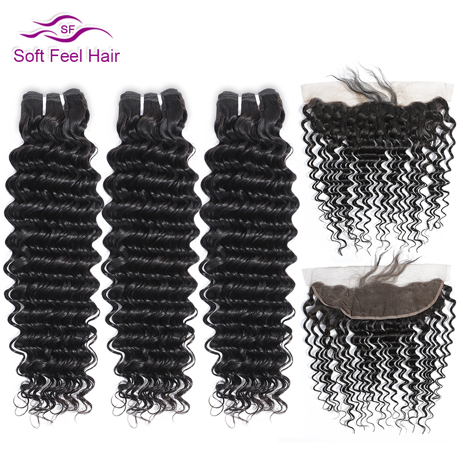 Soft Feel Hair Brazilian Deep Wave Bundles With Frontal Remy Human Hair Bundles With Frontal Lace Frontal Closure With Bundles