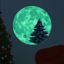 цена на Christmas Moon Luminous Wall Sticker Fluorescent Moon Fawn Pine Tree Snowman Christmas Sticker 30CM
