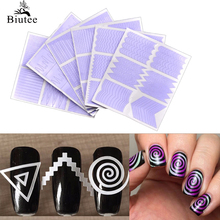 Biutee 12pcs/set Nail Art Guide Tips Hollow Stencils Sticker French Manicure Template 3D Vinyls Decals Form Styling Tool