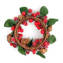 Christmas Garland Wreath Faux Berry Pine Cone Home Garden Door Hanging Ornament Holiday Decor