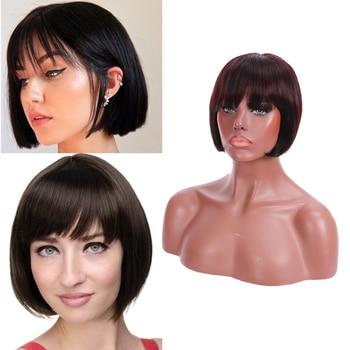 цена на Brazilian Remy Human Hair Wigs for Black Women Short Bob Wig with Bangs Pelucas De Mujer Pelo Human Wigs Perruque Cheveux Humain
