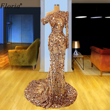 Luxury Sparkly Champagne Prom Dresses 2020 Sequins Illusion Arabic Evening Gowns One Shoulder Long Celebrity Dresses Party