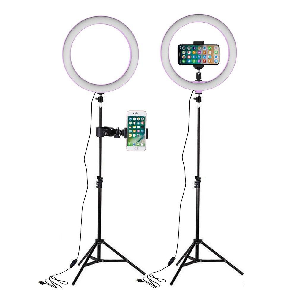 Light LED Selfie Ring Light USB หลอดไฟการถ่ายภาพแสงกับผู้ถือโทรศัพท์ 160 ซม.ขาตั้งกล้องสำหรับแต่งหน้าโคมไฟ