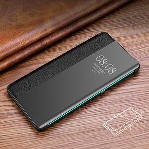 Image 4 - Lüks akıllı dokunmatik Mate30pro için hakiki deri Flip Case Huawei Mate 30 20 P30 Pro Mate20x Mate30 5G görüş pencere telefon kapak
