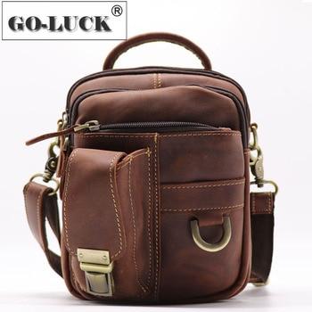 Multi-functions Men Top-handle Handbag Genuine Leather Waist Belt Pack Men's Crossbody Shoulder Bags Small Outdoor Organizer