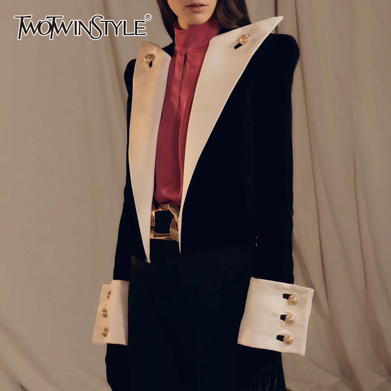 TWOTWINSTYLE Vintage Patchwork Hit Color Women's Blazer Lapel Collar Long Sleeve Elegant Blazers Female Autumn Fashion New 2020