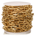 1 Meter Stainless Steel 7mm Width Gold Paperclip Chains Flat Oval Cable Chain For DIY Long Necklace Bracelet Making Findings