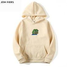 Sad tearing frog Print Hoodies Men/Women Hooded Sweatshirts 2019 New Harajuku Hip Hop Hoodies Sweatshirt Male Japanese Hoodie недорого