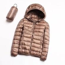 Зима женщины сверхлегкий пуховик с капюшоном куртка белая утка вниз куртка плюс размер 4XL теплый пальто женщина водонепроницаемый верхняя одежда