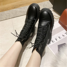 Ankle Boots for Women 2020 Autumn Motorcycle Boots Thick Heel Platform Shoes Woman Slip on Round Toe Fashion Lace-up Boots Black stylesowner lace up elastic knitting sock boots platform thick heels shoes round toe fashion sneaker boots non slip botas mujer