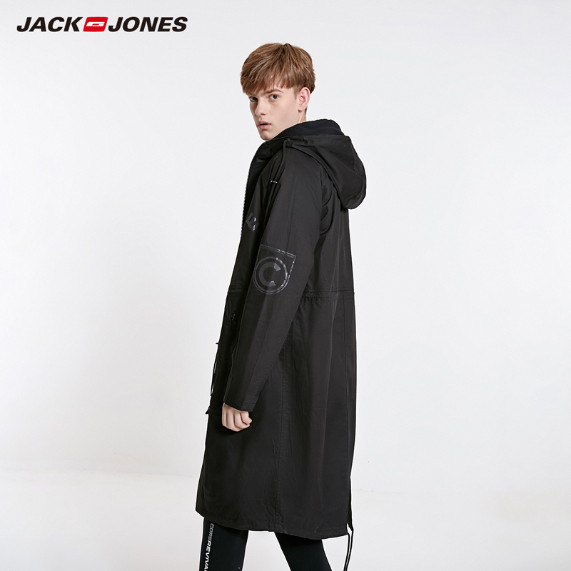 JackJones Men's Hooded Long Coat Trech Coat Over-knee Jacket Streetwear| 219121549