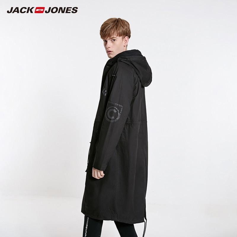 JackJones Men's Hooded Long Coat Trech Coat Over-knee Jacket Streetwear| 219121549
