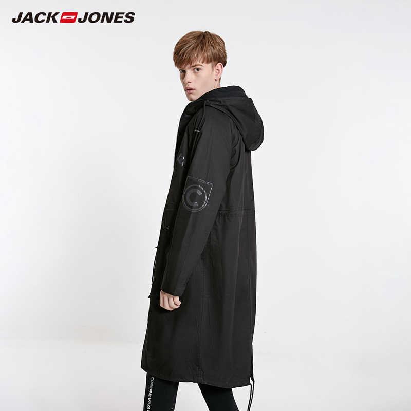 Jackjones 男性のフード付きロングコート trech コートオーバー膝ジャケットストリート   219121549
