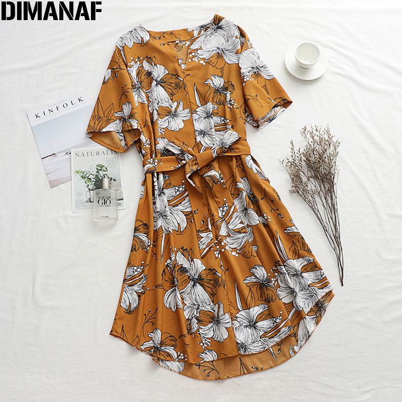 DIMANAF Plus Size Women Dress Summer Sundress Beach Style Vestidos Female Elegant Lady Floral Print Loose Dress 2020 Holiday New