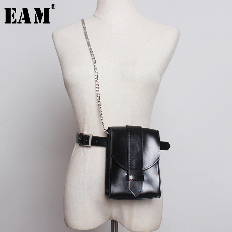 [EAM]  Pu Leather Metal Chain Mini-bag Quarter Buckle Belt Personality Women New Fashion Tide All-match Spring Autumn 2020 1A551