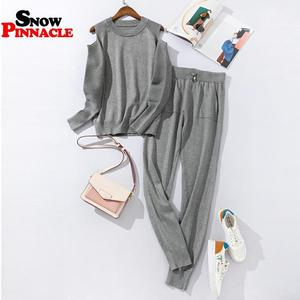 Image 3 - 2020 Fashion Women sweater customes sets Spring Autumn 100% Cotton thick soft long pant knitted sets Casual 2PCS Track Suits