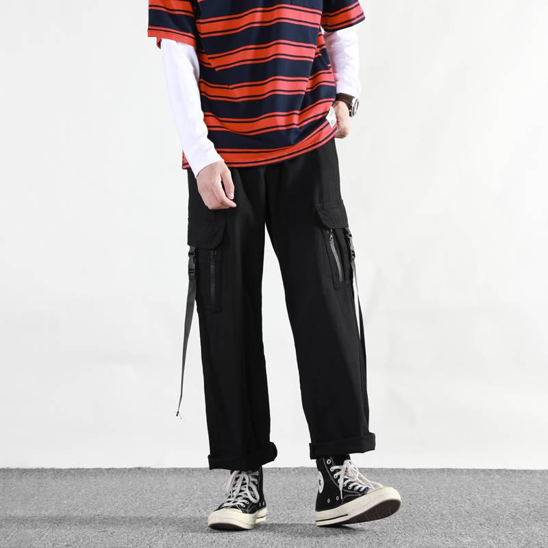 Harajuku Casual Joggers Male Track Streetwear Trouser Men Multi Pockets Cargo Pants Men Hip Hop Pants Techwear Summer Pants Men