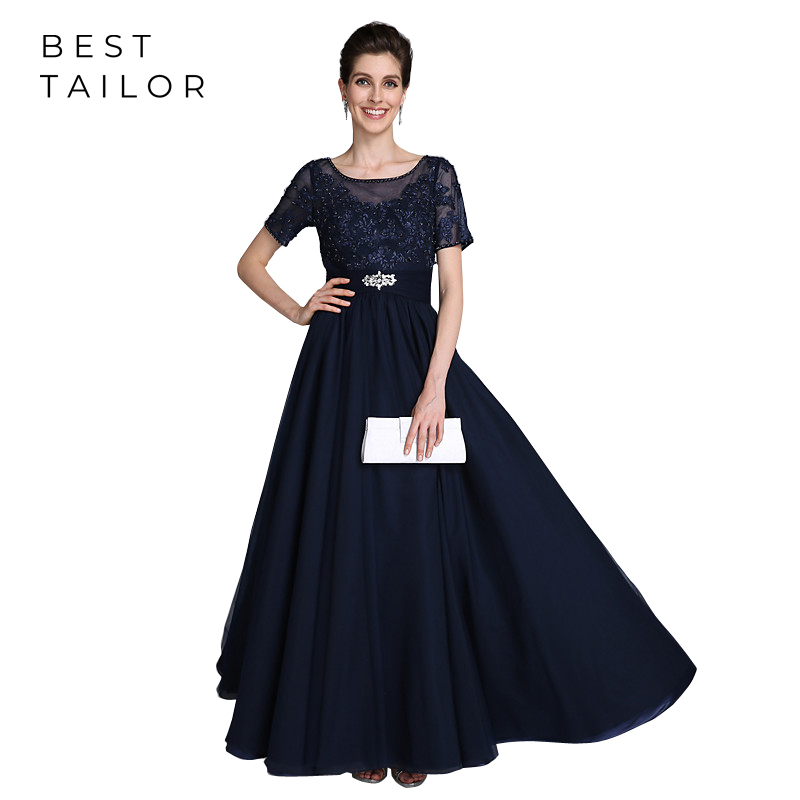 Navy Blue Mother Of The Bride Dresses For Weddings Floor Length Short  Sleeves Plum Formal Wedding Guest Gowns Vestidos Madrinha