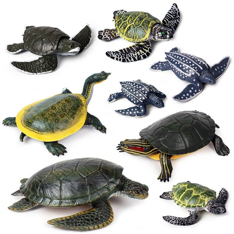 17 Kidns Simulation Sea Turtle Figure Collectible Toys Sea Life Animal Action Figures Kids Animal Sandtable Scene Toys