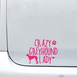 Crazy Greyhound Lady Auto Sticker Vinyl Auto Verpakking Accessoires Product Applique Decoratief Patroon