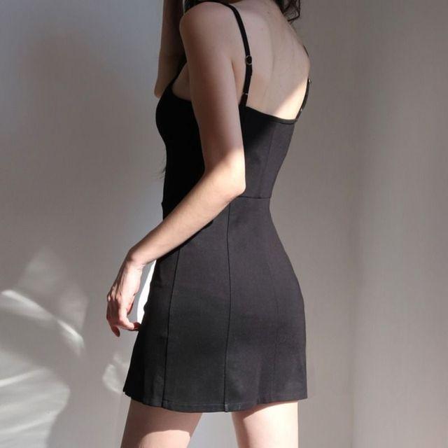 Women Sleeveless Dress Slash Neck Backless Mini Spaghetti Strap Black Sexy Retro Abdomen Slim Shaped Mature Simple Korean Style 3