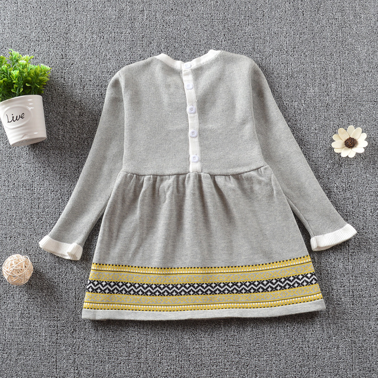 Girls Knitted Dress 2020 Autumn Winter Clothes Lattice Kids Toddler Baby Dress For Girl Princess Cotton Warm Christmas Dresses