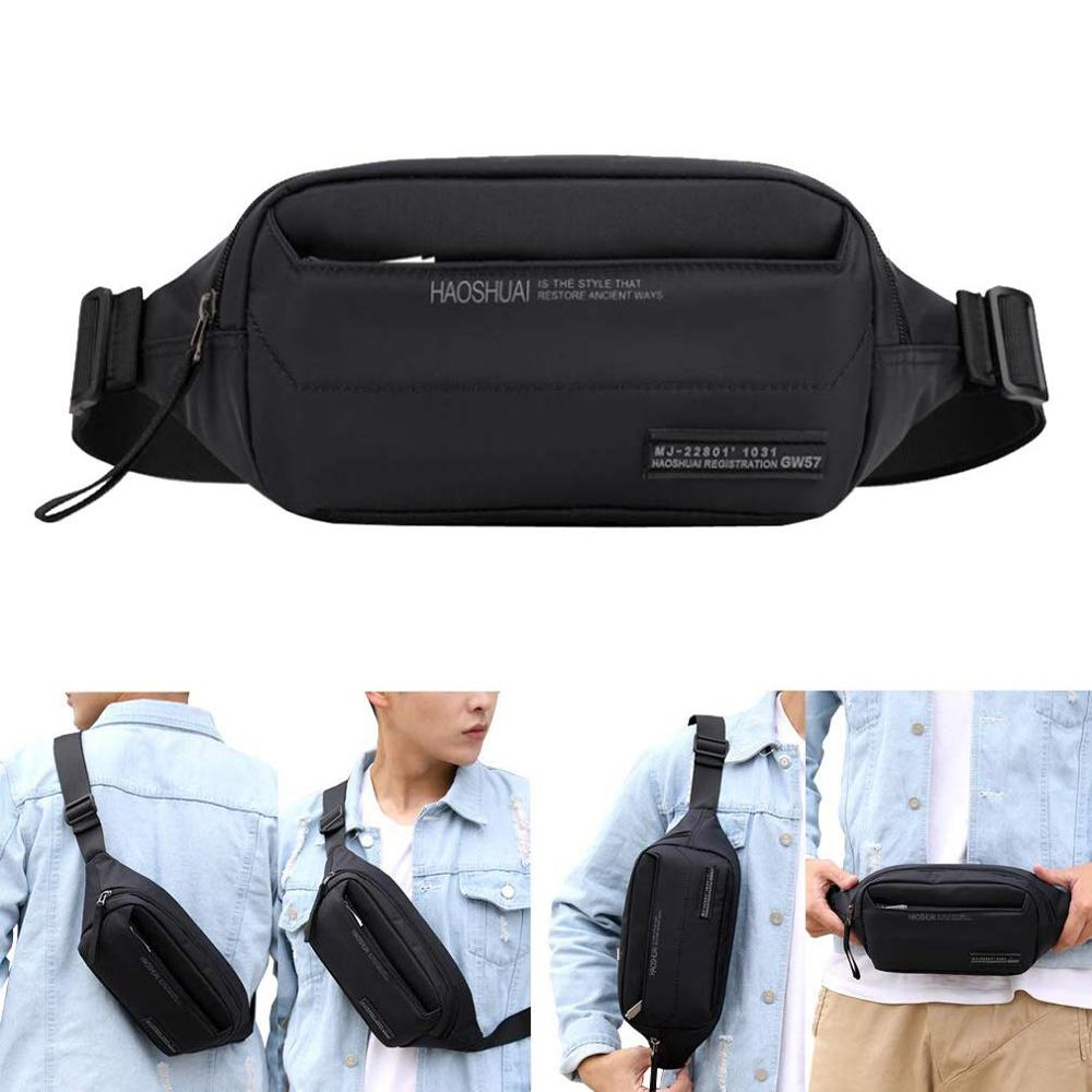 Nylon Fanny Pack for <font><b>Men</b></font> Women <font><b>Waist</b></font> Pack <font><b>Bag</b></font> Hip Bum Belt Pouch <font><b>Bags</b></font> with 3 Zipper Pockets for Outdoors Running Hiking Cycling image