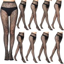 Lingerie Stockings Tights Pantyhose Embroidery Lace Sheer Elastic Transparent Thigh Black