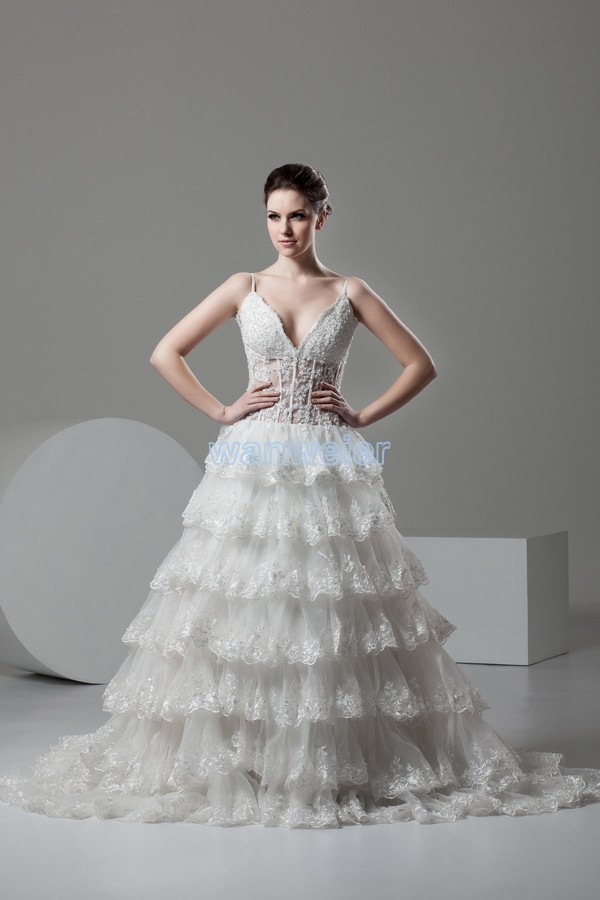 Free Shipping 2015 New Design Hot Sale Sexy Vestido De Noiva V-neck Bridal Gown Tiered Lace Appliques Beading Wedding Dress
