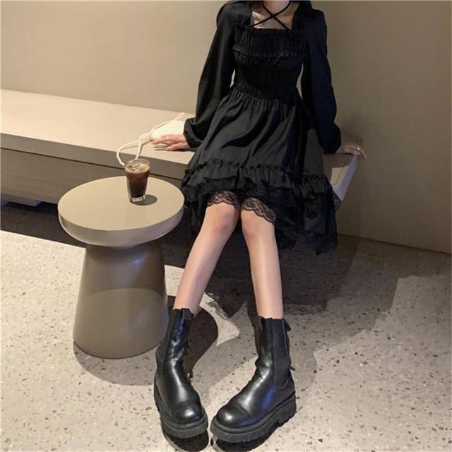 New Gothic Women Black Fairy Party Dress Cross Square Collar Lolita Princess Irregular Dress Cute Kawaii Lace Ruffles Chic Dress 3