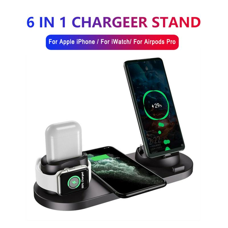 Qi Wireless Charger Dock Station 6 in 1 For Iphone Airpods Micro USB Type C Stand Fast Charging 3.0 For Apple Watch Charger