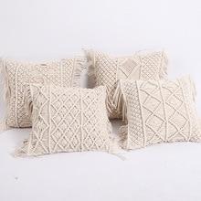 Cushion Covers 100 Cotton Linen Macrame Hand woven Thread Pillow Covers Geometry Bohemia Style Pillowcase Home