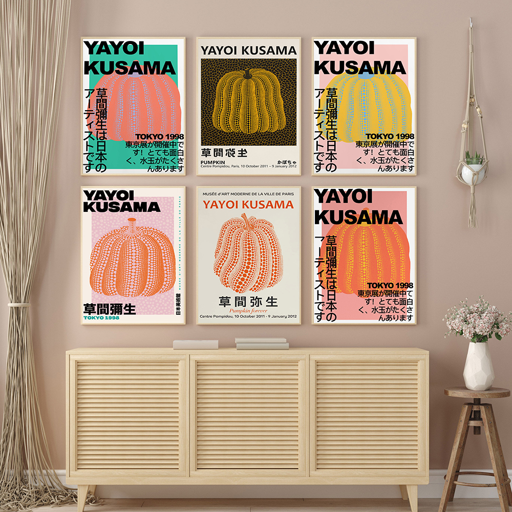 Yayoi Kusama Tokyo Exhibition Posters Wall Art Print Modern Abstract Orange Pumpkin Dot Canvas Painting Pictures Interior Decor
