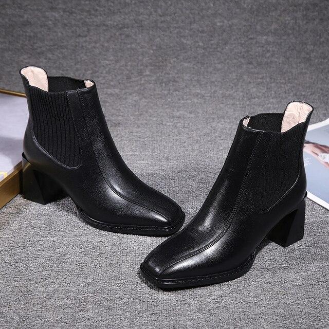 2020 botas de Chelsea para mujer, botas de tacón alto cuadradas para mujer, botas de mujer, zapatos de tejido elástico, zapatos casuales para mujer 5
