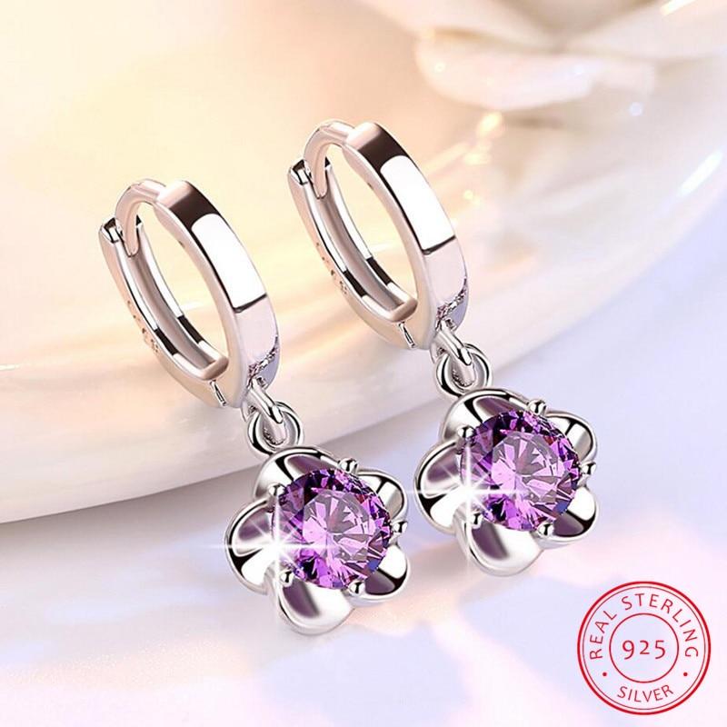 100% 925 Sterling Silver Shiny Crystal Plum Flower Drop Earrings Female Jewelry Women Gift Wholesale Drop Shipping