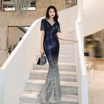 Mermaid Sequins Chinese Sexy O-Neck Oriental Party Female Cheongsam Stage Show Qipao Dress Elegant Celebrity Banquet Dresses