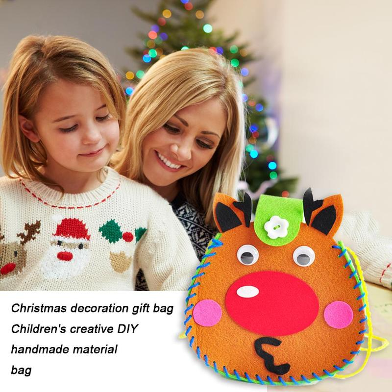 DIY Christmas Cartoon Gift Bag Kit Simple Handling Good Material Flexibility Kids Non-Woven Handmade Materials Pouch Craft
