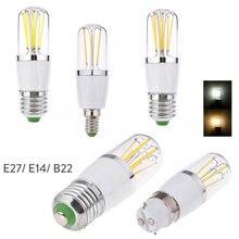 E14 E27 3W 4W 6W светодиодный лампочка накаливания с регулируемой яркостью B22 байонетная Замена 30W 40W 60W лампа накаливания 220V 110V DC 12V
