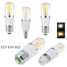 цена на E14 E27 3W 4W 6W LED Filament Light Bulb Dimmable B22 Bayonet Replace 30W 40W 60W Incandescent Lamp 220V 110V DC 12V