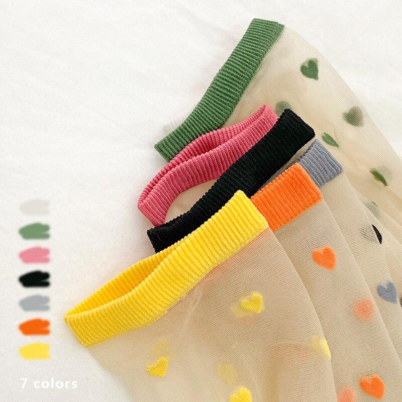 2020 Women Female Sweet Heart Cute Sock Fashion Summer Spring  Nylon Transparent Mesh New Ankle Socks