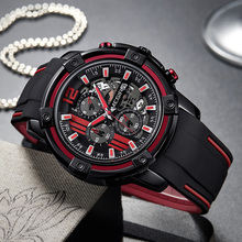 Chronograph Mens Sport Watches with Silicone Band Big Dial Military Quartz Watch Men Clock Relogio Masculino Reloj Hombre benyar sport men chronograph quartz wristwatch military date design dial genuine leather band outdoor cool watch reloj masculino
