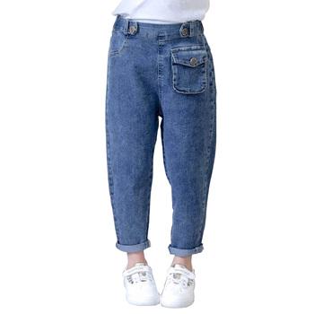 Dziewczyny łatki na dżinsy dżinsy z kieszeniami dla dziewczynek w pasie dżinsy dla dzieci wiosna jesień dżinsy ubrania dla dziewczynek 6 8 10 12 14 rok tanie i dobre opinie Abesay Na co dzień Pasuje prawda na wymiar weź swój normalny rozmiar 0484442 Elastyczny pas Stałe REGULAR Medium JEANS