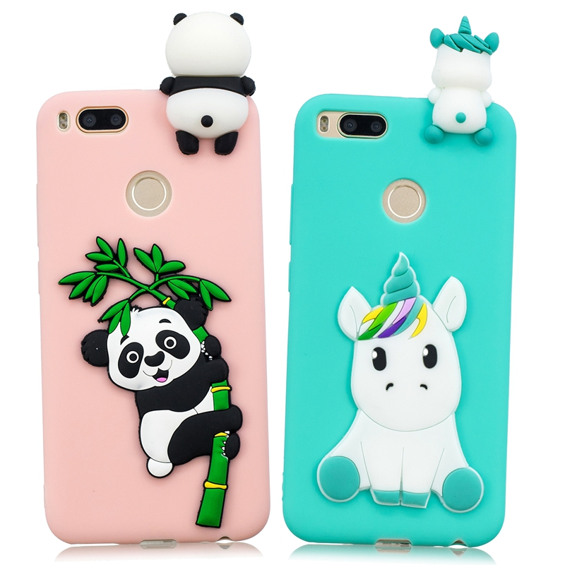 for Xiaomi Mi A1 Case mi 5x Cover Cute 3D Unicorn Panda Patch Silicone Phone Case on Funda Xiaomi mi a1 Xiomi Case Women Korean
