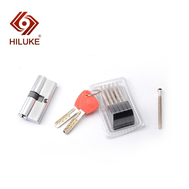 Купить с кэшбэком HILUKE brass door lock cylinder safe lock europe stander 70mm lock core high secure key C70.7